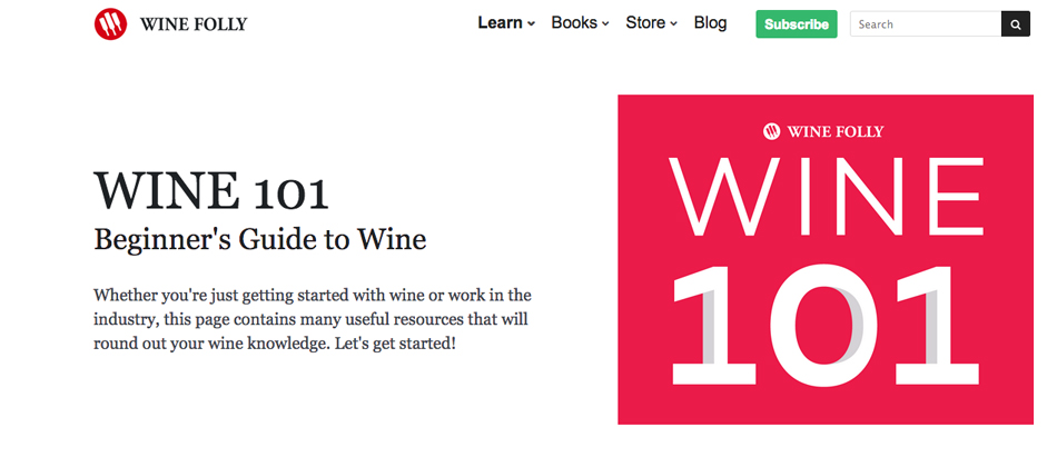 Image of Wine Folly website Wine 101 page