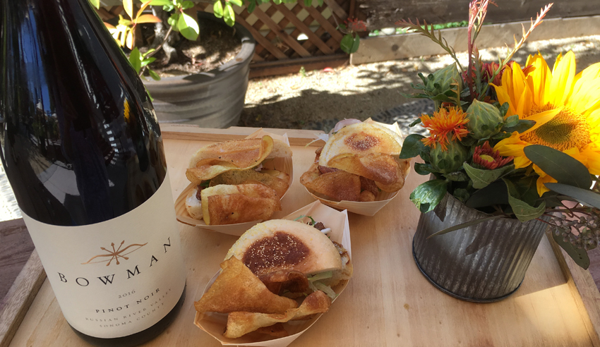 Bowman Cellars Pinot Noir paired with sliders and chips.