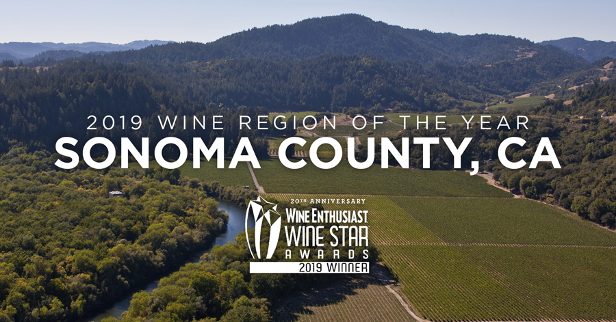2019 Wine Region of the Year --Sonoma County, California winner of the Wine Enthusiast's Wine Star Award