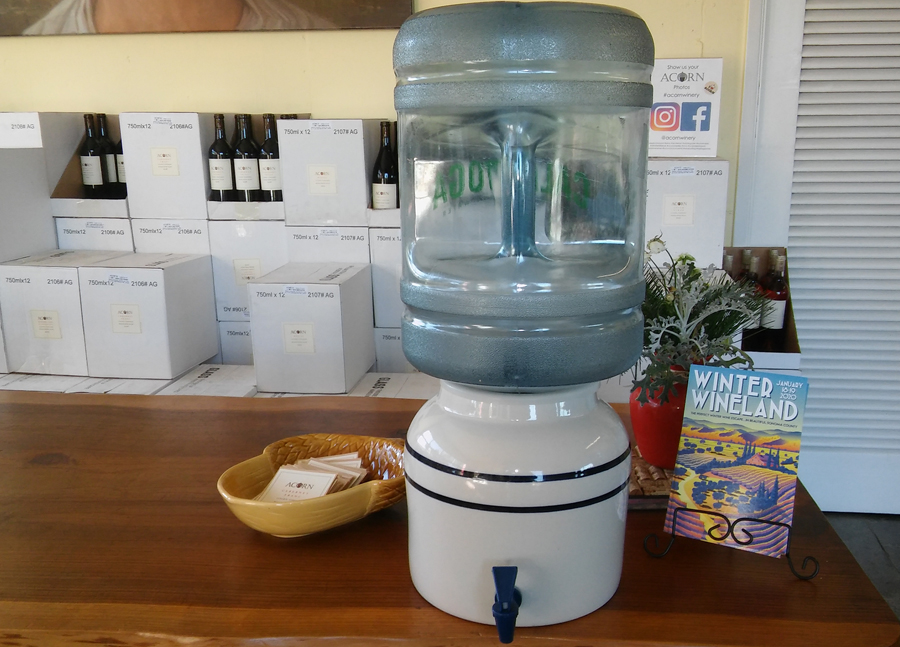 Water dispenser at the ACORN Winery tasting room.