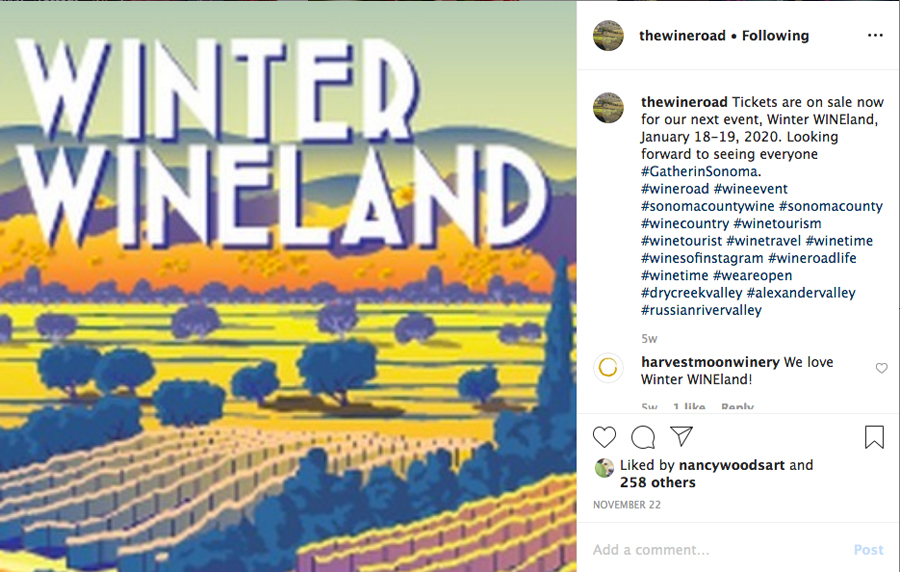 A sample of an Instagram post about Winter Wineland 2020.