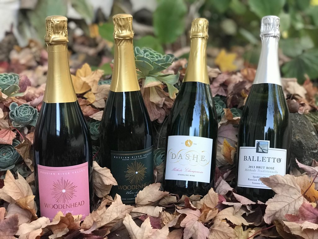 sparkling wines in the leaves parkling wine selections from Woodenhead, Dashe and Balletto.