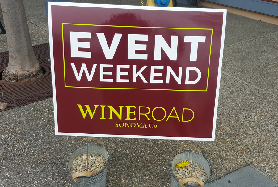 Wine Road Event sign
