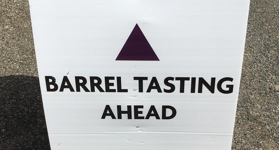Barrel Tasting Ahead sign
