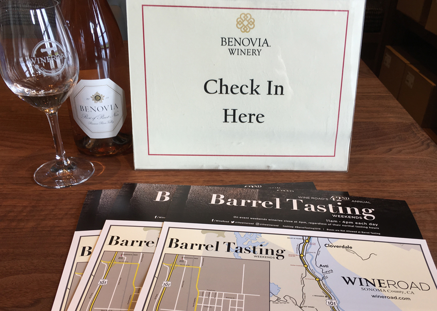 Check in Here sign at Benovia Winery