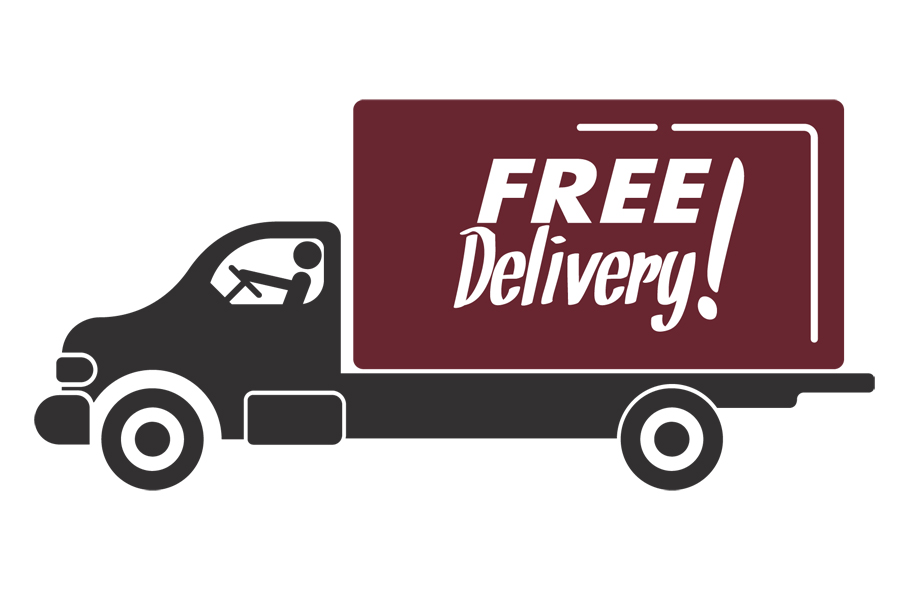Image of a truck with free delivery! on the side of it.