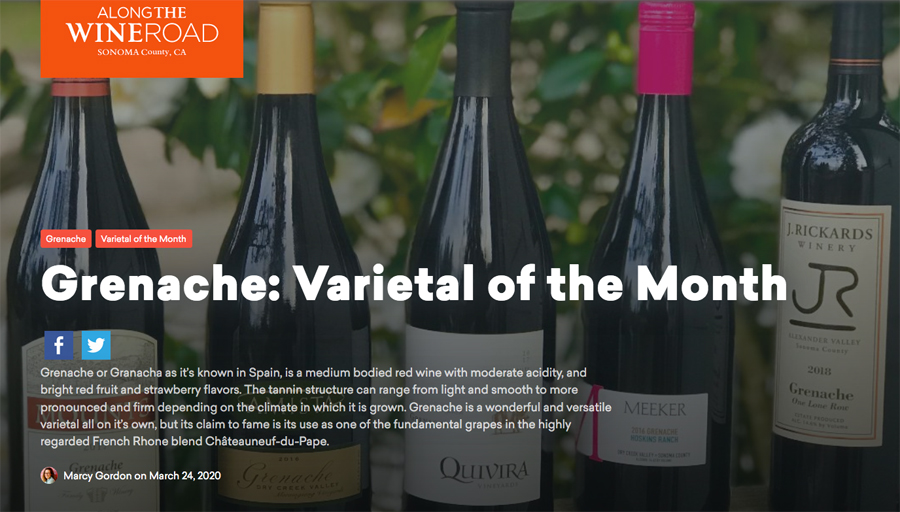 Image of page from the Varietal of the month blog featuring Grenache.