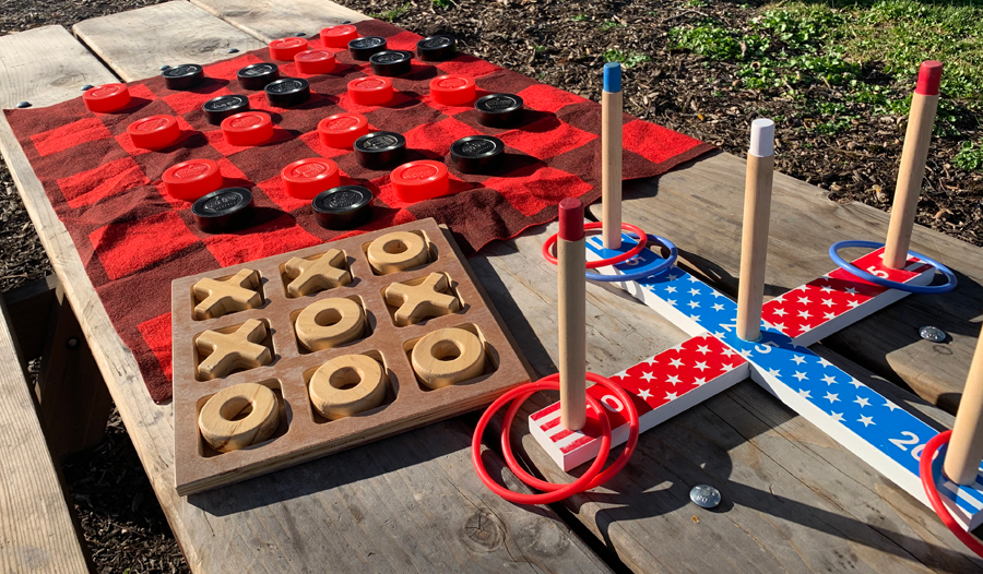 Tic-Tac-Toe, ring toss and checkers are three of the children's games available at Kendall-Jackson Wine Estate and Gardens.