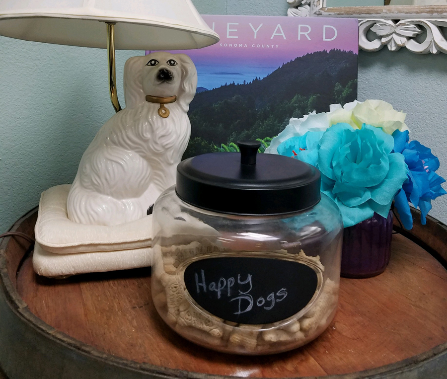 Fun image of dog lamp and a container of dog treats labeled Happy Dog.