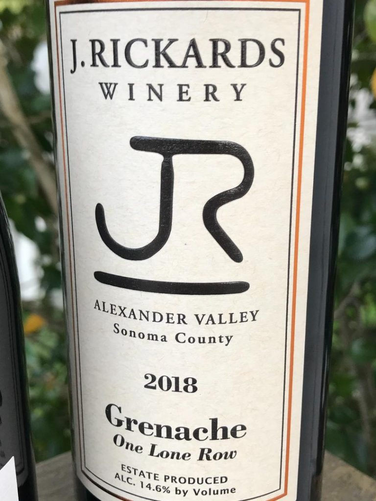 J.Rickards Grenache wine bottle label