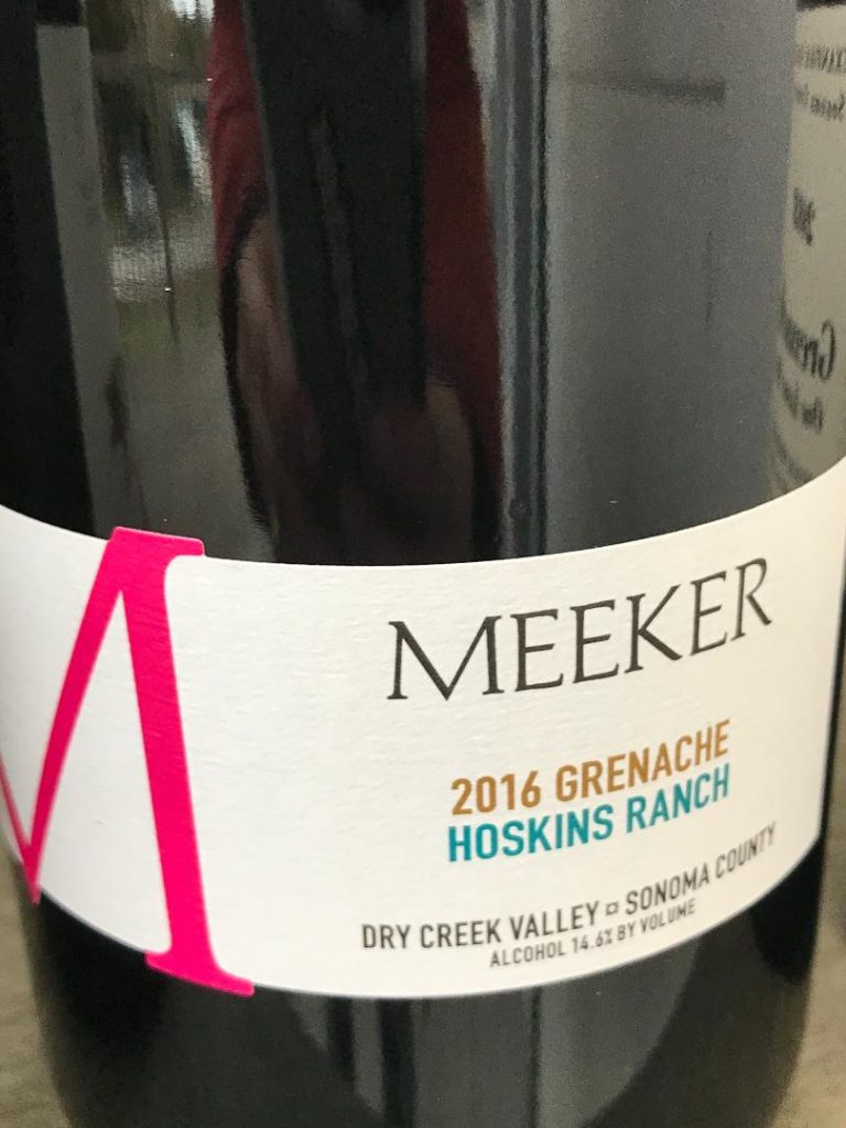 Meeker Grenache wine label bottle