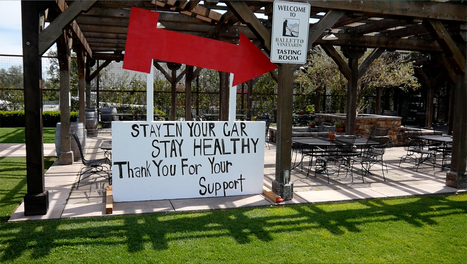 Battello Vineyards sign that reads Stay in your car, Stay Healthy, Thank you for your Support