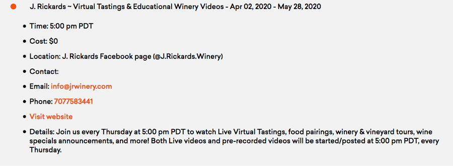 A Wine Road website posting of an upcoming virtual tasting and eductional video by J. Rickards Winery