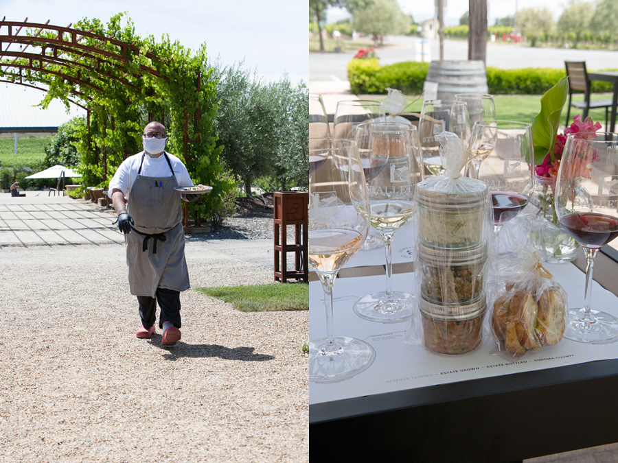 Bricoleur Vineyards Executive Chef & Director of Culinary Operations Shane McAnelly delivers a food pairing to tasters. (left side) Balletto Vineyards offers pairings to tasters.