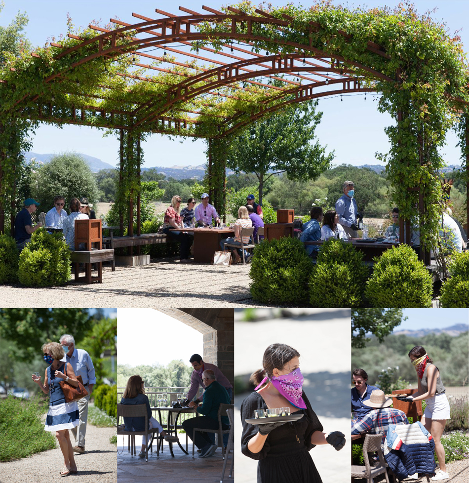 Composite of tasting photos from Bricoleur Vineyards, showing safe distancing and staff and visitors wearing masks.