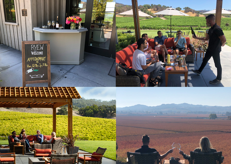 Composite of tasting venues at Robert Young Estate Winery showing social distancing.