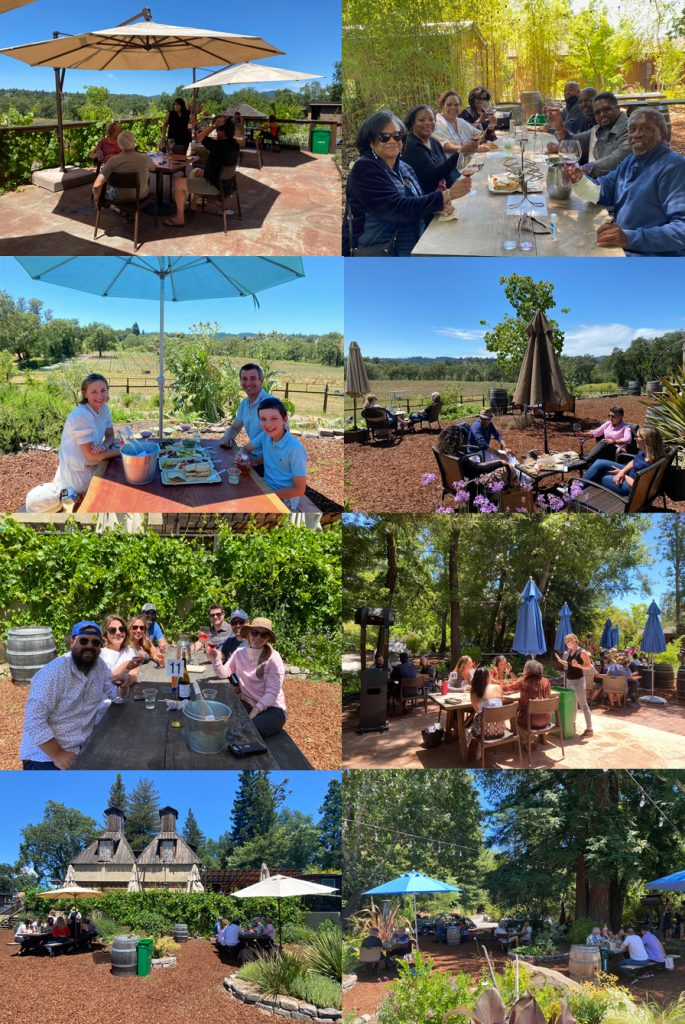 Composite of various wine tasting venues at Russian River Vineyards that allow social distancing.