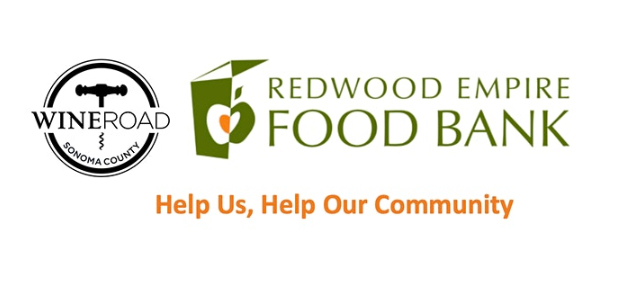 "Wine Road and Redwood Empire Food Bank logos with ""Help Us, Help Our Community."""