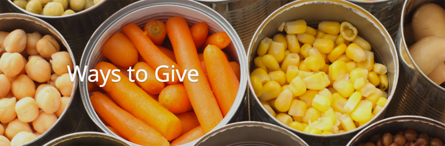 "Image of open cans of food with words"" Way to Give"" back across the cans."