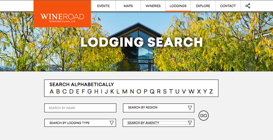 Image of the Wine Road lodging search website page.
