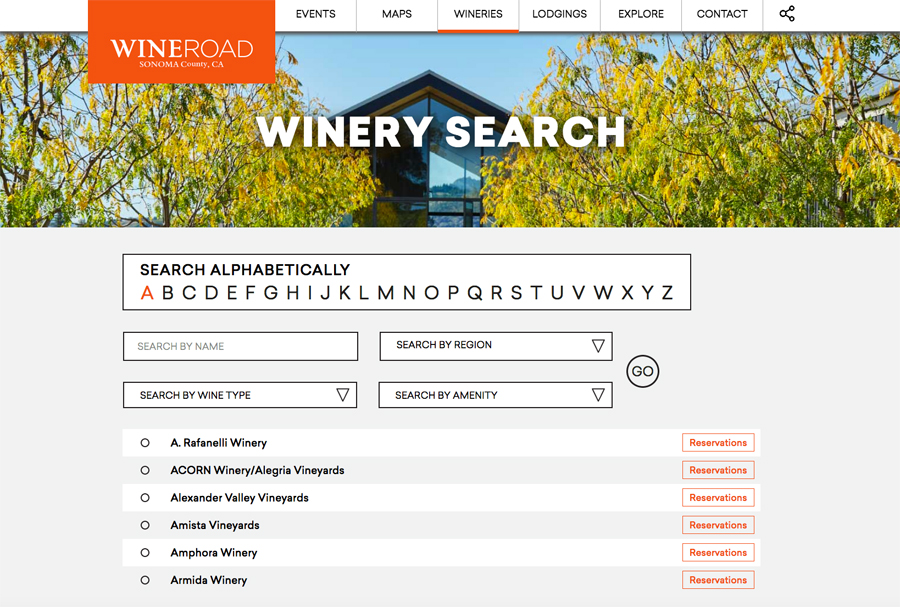 Wine Road Winery Search with Reservation links.