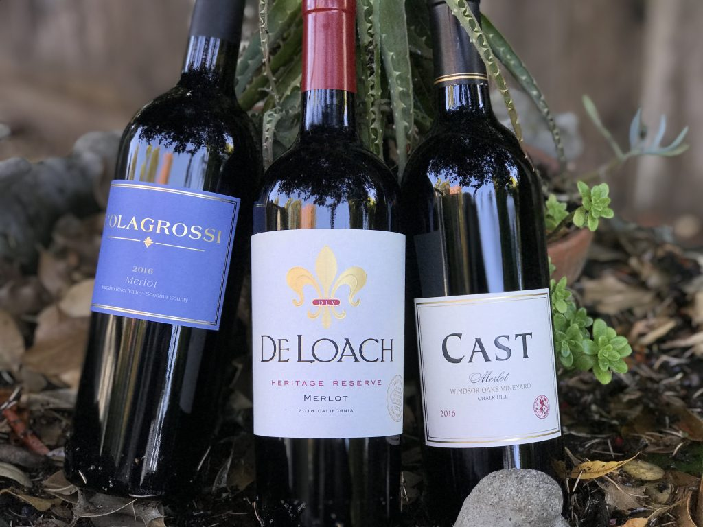 Bottles-of-Merlot-from-Colagrossi_DeLoach_and-_Cast_-with-plants-in-background