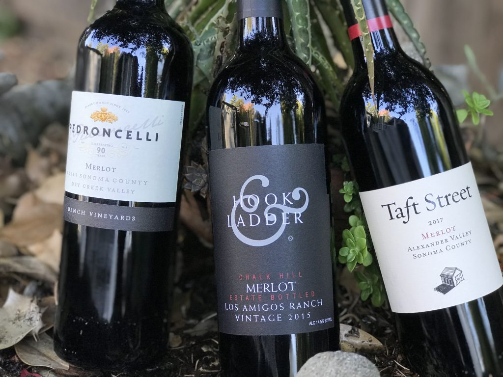 Bottles-of-Merlot-with-Pedroncelli_Hook_and_Ladder_-and-_Taft_Street-with-plants-in-background-
