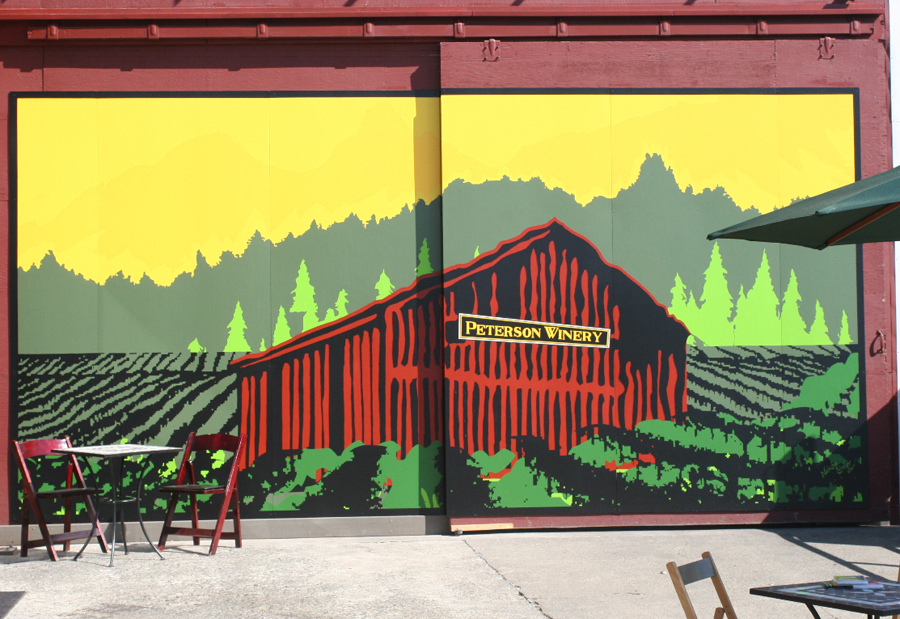 Peterson Winery mural of the big red barn